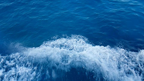 blue sea wave movement from the boat, concept of turist travel Live Action