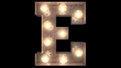 rusty steel blinking light bulb letters E 2 Animation