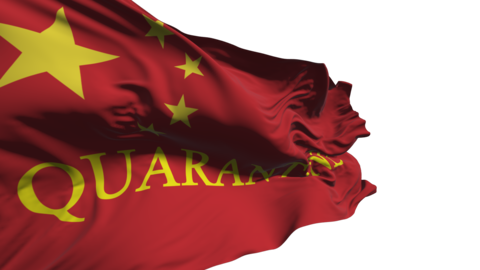 "Chinese flag flutters in the wind with the words ""quarantine"", with the alpha channel danger of Live Action"