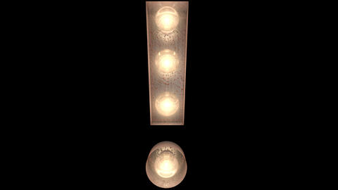 rusty steel blinking light bulb letters Exclamation point 2 Videos animados