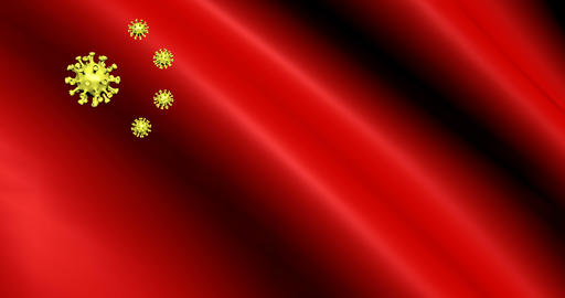 Coronavirus flag in chinese style on red background. Banner background. Medicine Live Action