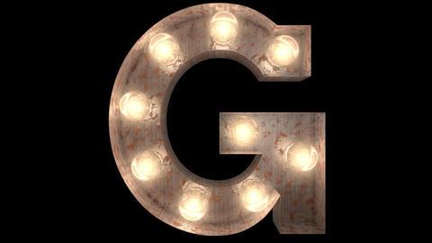 rusty steel blinking light bulb letters G 2 Animation