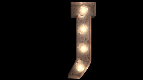 rusty steel blinking light bulb letters J 2 Videos animados