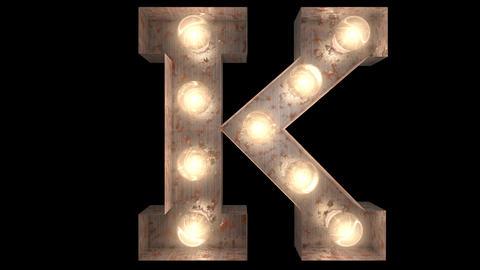 rusty steel blinking light bulb letters K 2 Animation
