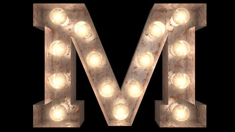 rusty steel blinking light bulb letters M 2 Animation