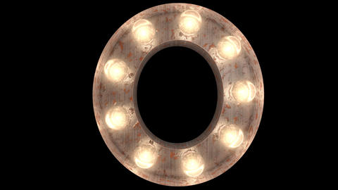 rusty steel blinking light bulb letters O 2 Animation