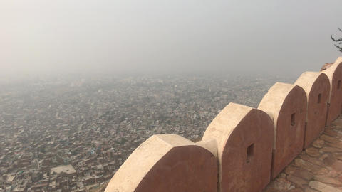 Jaipur, India - defensive structures on a high mountain part 2 Live Action