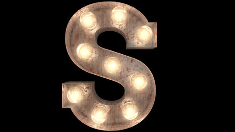rusty steel blinking light bulb letters S 2 Videos animados