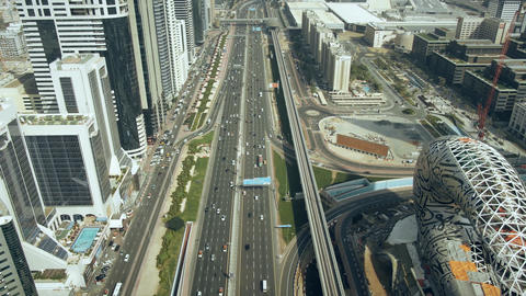 DUBAI, UNITED ARAB EMIRATES - DECEMBER 30, 2019. Aerial view of the Trade Centre Live Action