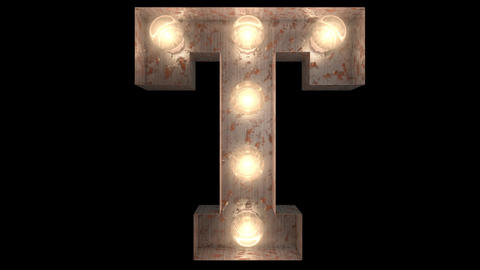 rusty steel blinking light bulb letters T 2 Animation