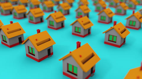 Many rows of colorful houses. Computer generated house property market for rent Live Action
