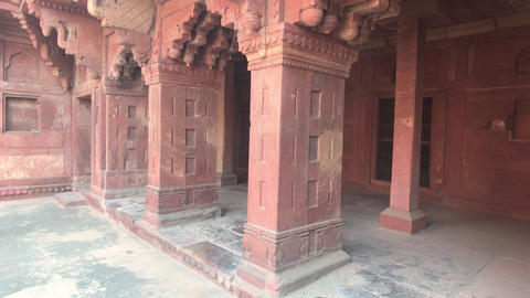 Agra, India - Agra Fort, historical fragments of the old structure Live Action