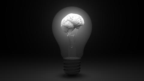 Glowing human brain inside a light bulb. Idea or insight related conceptual 3D Live Action
