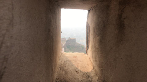 Jaipur, India - defensive structures on a high mountain part 19 Live Action