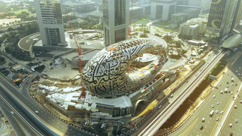 DUBAI, UNITED ARAB EMIRATES - DECEMBER 26, 2019. Aerial shot of the Museum of Live Action