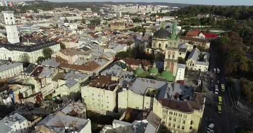 Aerial Viev. Old City Lviv, Ukraine. Town Hall, Ratush Live Action