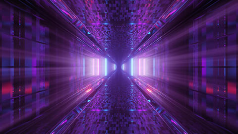 3d illustration motion background with futuristic shiny sci-fi tunnel corridor Animation
