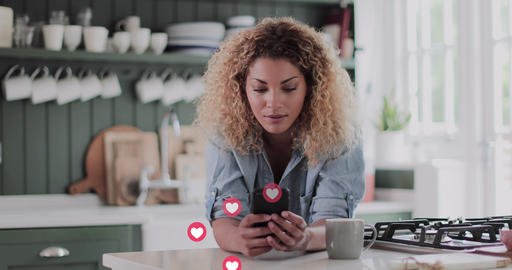 Young Adult woman using smart phone with animation of social media button at home Live Action