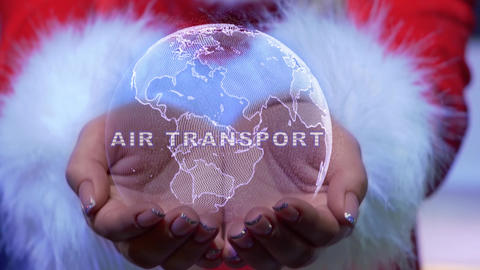 Hands holding planet with text Air transport Live Action