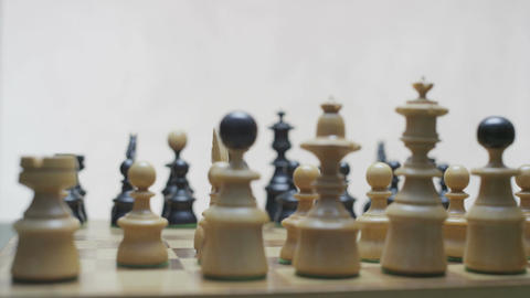 Chess board with classic wood pieces 027 Footage