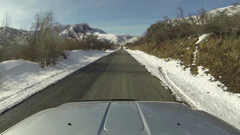 Winter mountain canyon driving truck POV 2 HD 0274 Footage