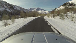 Winter mountain canyon driving truck POV fast HD 0274 Footage