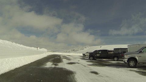 Winter recreation snow sport parking lot POV HD 0279 Footage