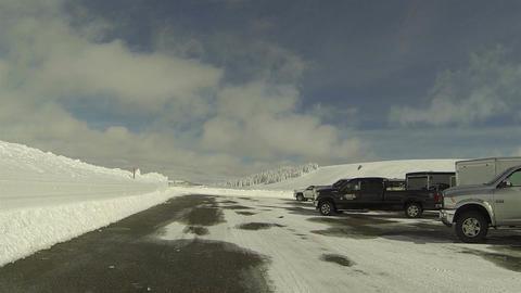 Winter recreation snow sport parking lot POV HD 0279 Footage