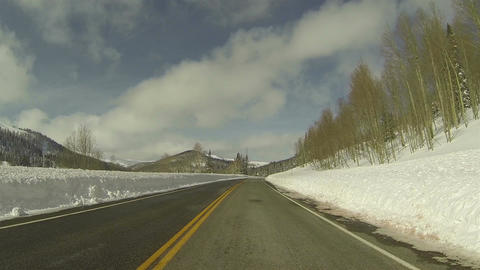 Winter snow high mountain road POV 2 HD 0277 Footage