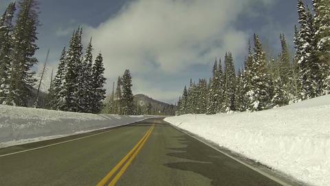 Winter snow high mountain road POV 3 HD 0277 Footage