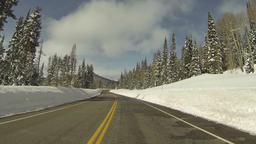 Winter snow high mountain road POV Fast HD 0277 Footage