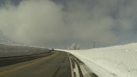 Winter snowbanks drive mountain road POV 1 HD 0283 Footage