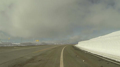 Winter snowbanks drive mountain road POV 2 HD 0283 Footage