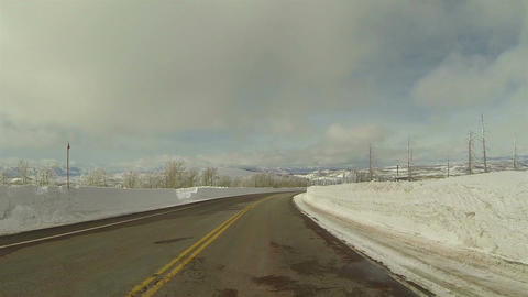 Winter snowbanks drive mountain road POV 3 HD 0283 Footage