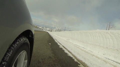 Winter storm snow banks drive POV 3 HD 0285 Footage
