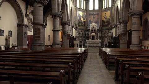 York England Nave Altar St Wilfrids Catholic Church pan 4K Live Action
