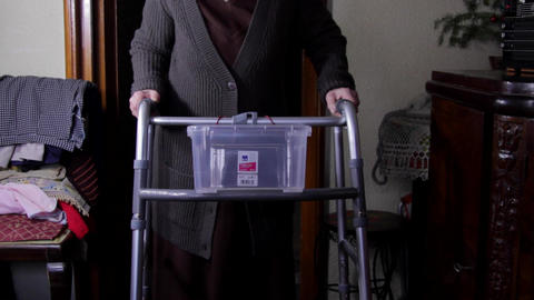 99 Years Old Woman With Walker, Very Old Person, Disabled Old Woman, Tilt Up Footage