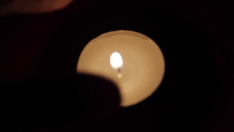 Beautiful Candle Light Put Out With Two Fingers, Romantic Setting, Intimacy Footage