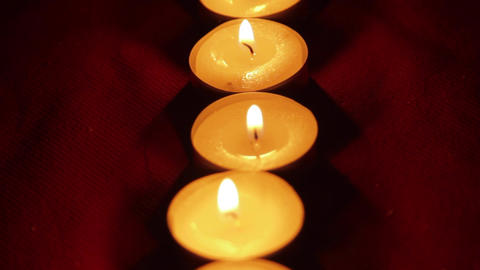 Romantic Candles For Valentine's Day, Soft Romantic Light, Pan Over Candles Footage