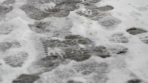 Footprints In Snow, City Street Covered In Snow, Blizzard, Tracks, Winter, Pan Footage