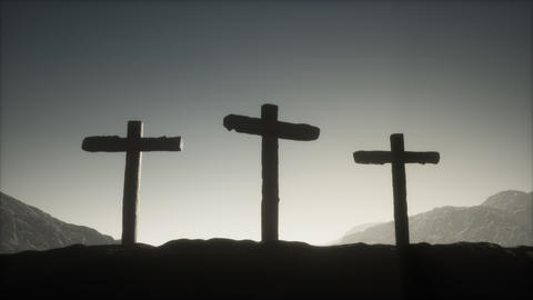 wooden Crucifix cross at mountain Live Action