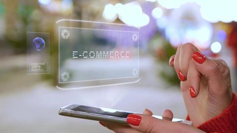 Female hands interact HUD hologram E-commerce Live Action