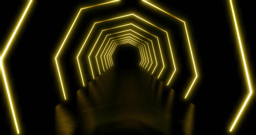 Neon light paths or glowing octagonal abstract lights - 4k Animation
