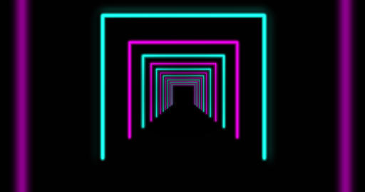 Neon trendy design glowing path going through tunnel - 4k Animation