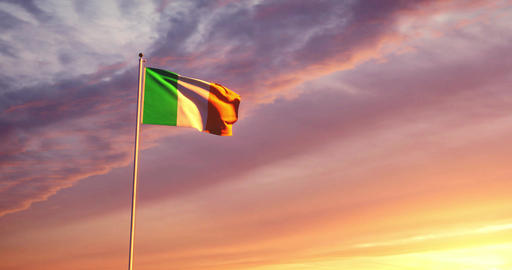 Irish flag waving represents the Republic of Ireland people - 4k Animation