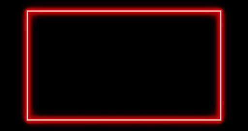 Red neon border using abstract glowing light makes frame - 4k Animation