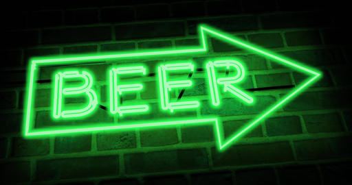 Neon beer sign shows nightclub, bar or pub - 4k Animation