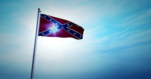 Confederate flag waving in the sky shows American Civil War - 4k Animation