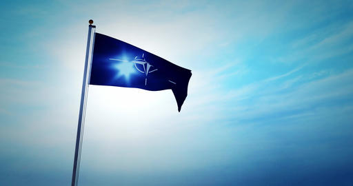 NATO flag waving depicts North Atlantic treaty organization - 4k Animation