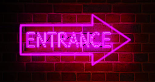 Neon entrance sign shows illuminated doorway as welcome to business premises - 4k Animation